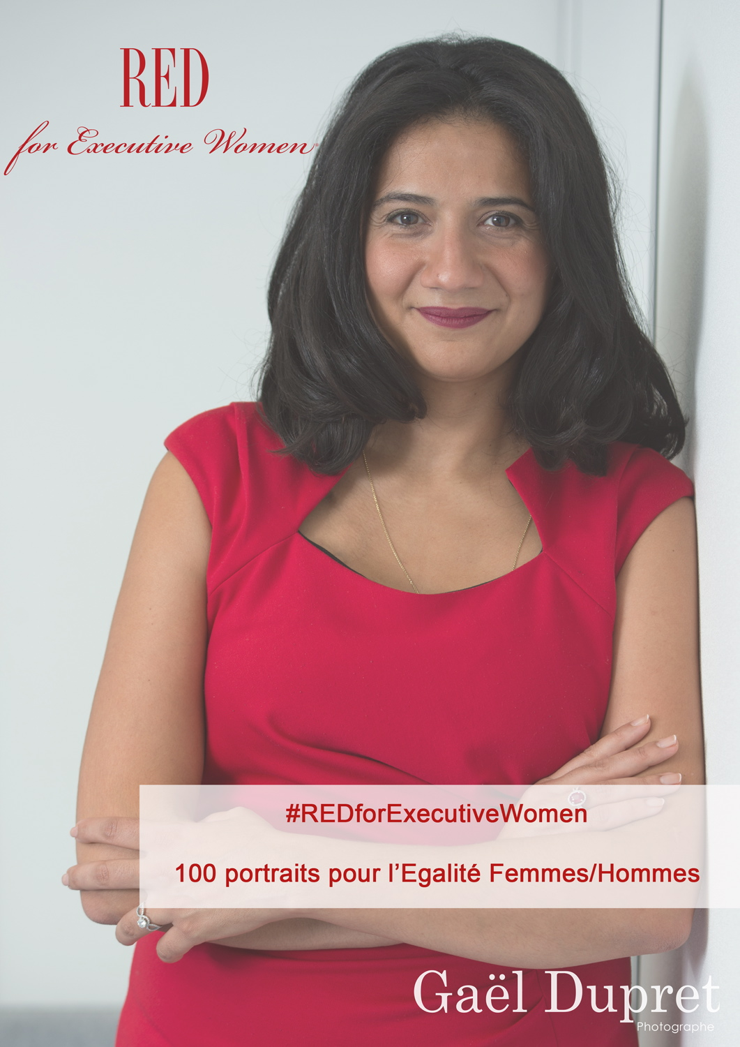 Visual in small format portraits of 100 women who posed in RED for Executive Women